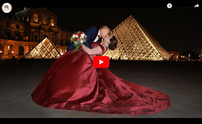 Vidéaste mariage franco-chinois Paris, vidéaste chinois mariage Paris, vidéo mariage séance couple Paris à la pyramide du louvre