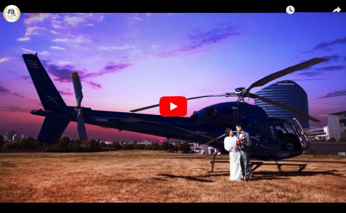 Vidéaste mariage chinois Paris, vidéaste chinois pré-mariage Paris, vidéo pré-mariage survol de Paris et Versailles en hélicoptère